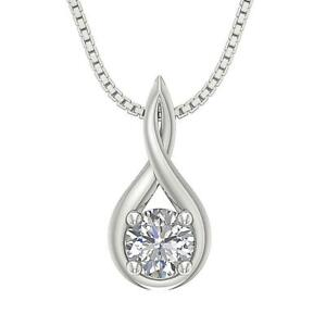 Knot-Solitaire-Pendant-Necklace-SI1-G-0-80Ct-Natural-Diamond-14K-White-Rose-Gold