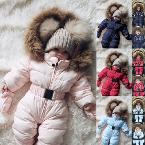 Toddler Baby Boy Girl Comfy Romper Jacket Hooded Jumpsuit Thick Coat Outfits US