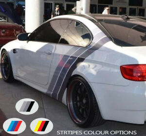 For-BMW-COLOURED-Sport-STRIPES-Back-Side-VINYL-Decal-Sticker-Motorsport-Graphics