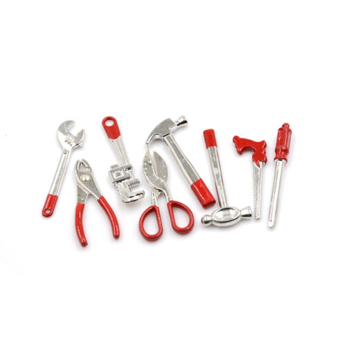 8pcs 1:12 Scale Miniature Metal Hand Tools Set Dolls House Accessories XJ