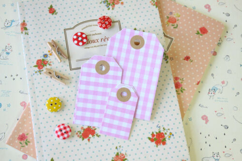 Pastel Gingham Luggage Tags 20pc wedding craft giftwrapping gift tag price label