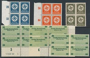 Lot-Stamp-Germany-Official-Blocks-WWII-3rd-Reich-Eagle-Dienst-Revenue-Import-MNG