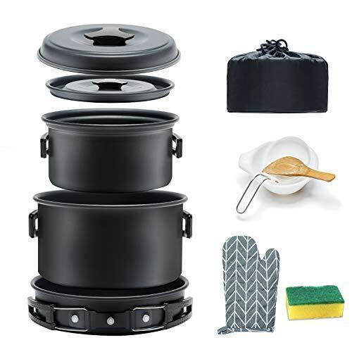 Keymao Camping Cookware Set Cooking Pot Set for 1-3People Lightweight