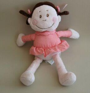 Peluche-doudou-poupee-fille-KIMBALOO-LA-HALLE-cheveux-marron-robe-rose-a-pois