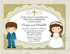 Details About 10 Twin Boy Girl Blue Suit Communion Invitations Envelopes Beautiful Shipped