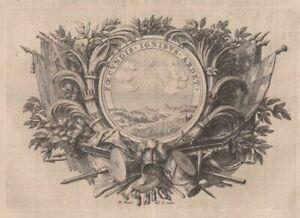 Bernard-Picart-Ornement-Devise-Soleil-Brule-de-feux-feconds-Gravure-originale