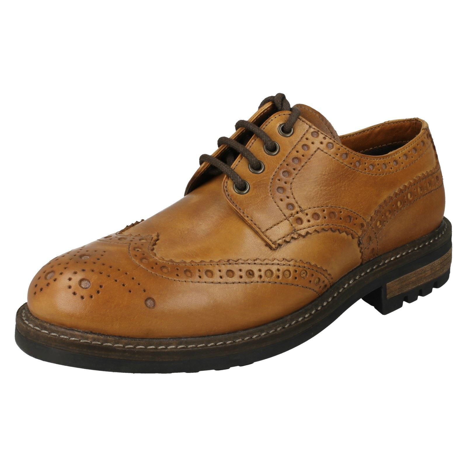 MENS RED TAPE BRACKEN CLASSIC LACE UP BROGUES SMART FORMAL TAN LEATHER SHOES