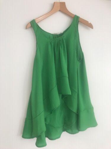 Top Zara Silk Worn Size Small Once Green Hem Asymetric 7HZInqwHr6
