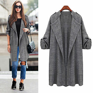 Womens Casual Open Front Cardigan Trench Coat Long Sleeve Duster Jacket Outwear