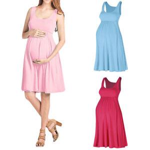 ec2ffb74d0c1e Image is loading Summer-Sleeveless-Pregnancy-Nursing-Maternity-Short-Mini- Sun-
