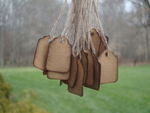 "100 extra small scalloped hang tags coffee stained 1 3//32/"" x 3//4/"" pre-strung"