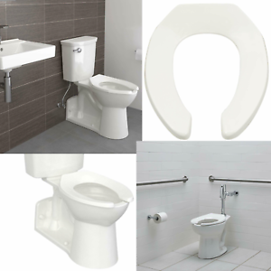 Fantastic Details About Elongated Commercial Toilet Seat Heavy Duty Solid Polypropylene Plastic Open Fro Machost Co Dining Chair Design Ideas Machostcouk