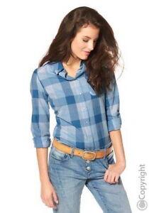 ANISTON-Damen-Bluse-Baumwolle-100-Blau-Karriert-Gr-42-Neu