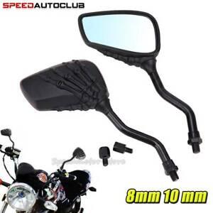 Motorcycle Skull Skeleton Rearview Side Mirrors For Harley Davidson Honda Suzuki