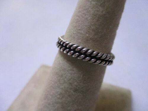 Sterling Silver Twisted corde style Pile Mesure Ring 2 mm épais Double Stack Taille 8
