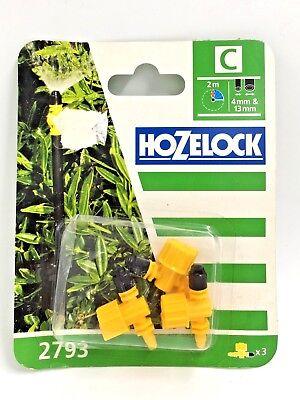 3 Pack Hozelock HOZ2793 Adjustable Micro Jet 90 Degree 4mm//13mm