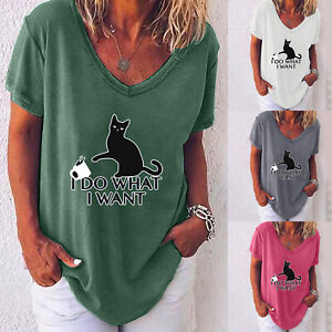 Womens-V-Neck-Summer-Loose-Tops-Casual-Ladies-Short-Sleeve-Blouse-T-Shirt-Tee-US