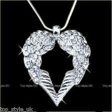 18K WHITE GOLD GP ANGEL WINGS CRYSTAL HEART DIAMOND NECKLACE PENDANT VALENTINE X
