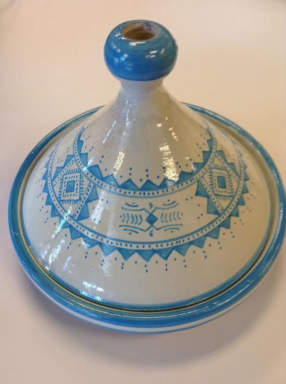 Marocain Serving tajine assiette en céramique vernissée terre cuite large bleu clair