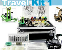 Tattoo Starter Travel Kit 1 Seller Supply Ink Needles Machine Grips Tips Case