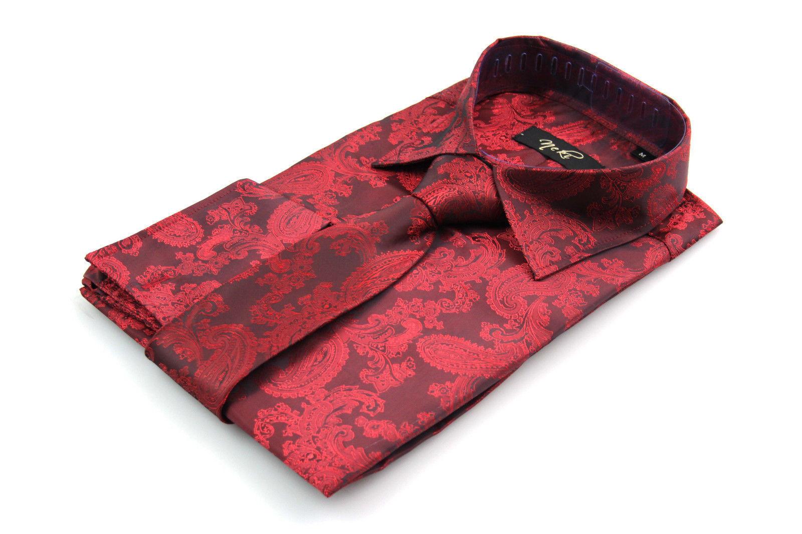 Uomo Rosso Raso Seta Look Motivo Cachemire Camicia Formale Tutte le Misure