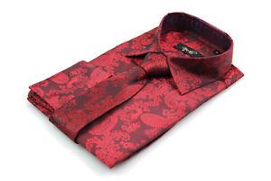af70937470dd Mens Red Silk Satin Look Paisley Dress Shirt All Sizes S M L XL XXL ...