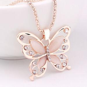 Opal-Anhaenger-Kette-Pullover-Rose-Halskette-Schmuck-Jewelry-Schmetterling-Gold