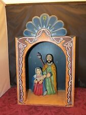 NEW MEXICO CHARLES M. CARRILLO HAND CARVED  NICHO NATIVITY SET ARTIST SIGNED