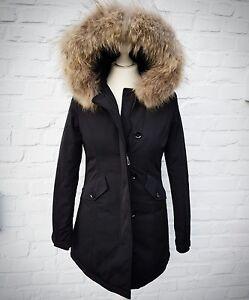 damen winter arctic mantel parka jacke mit echtfell pelz. Black Bedroom Furniture Sets. Home Design Ideas