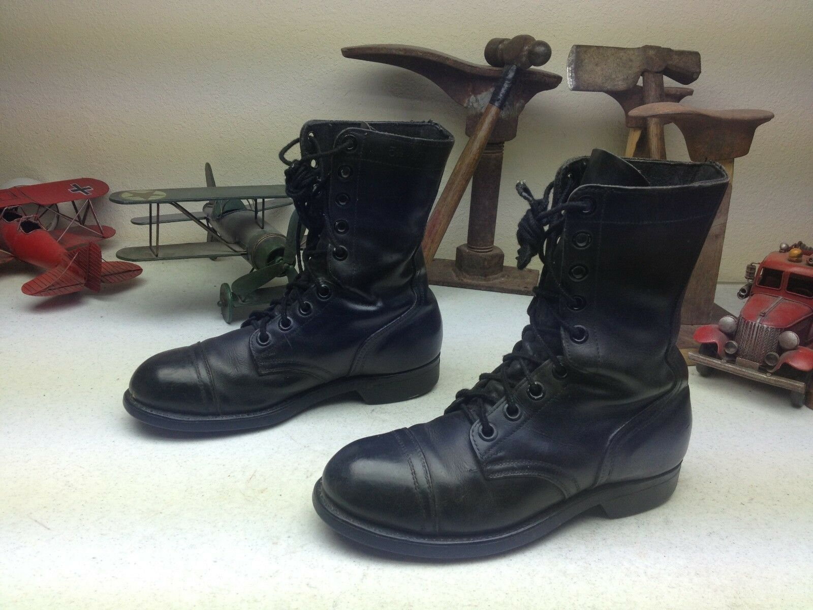 nero 1984 VINTAGE DISTRESSED USA MILITARY LACE UP ENGINEER JUMP BOSS stivali 5.5W