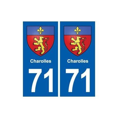 71 Charolles blason autocollant plaque stickers ville droits