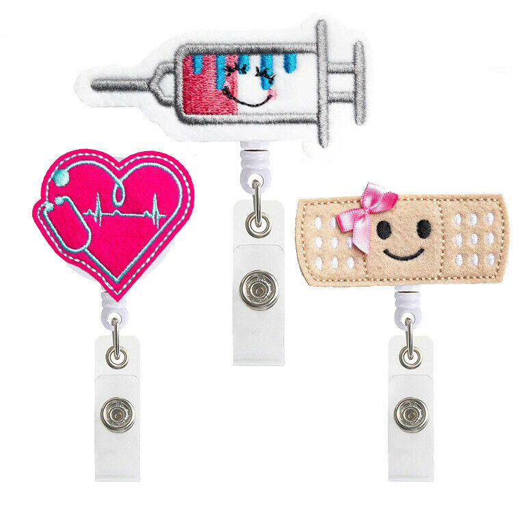 3 Color Retractable Nurse Badge Reel Clip Badge Holder Doctor ID Card Holder