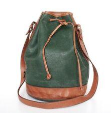 Vintage Drawstring Bag - Green /  Brown Leather & Vinyl- 1980s - Large