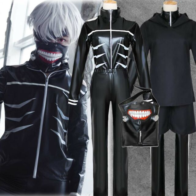 Cosplay Tokyo Ghoul Kaneki Ken Irregular Cuff Black Top Pants Set Outfit Costume