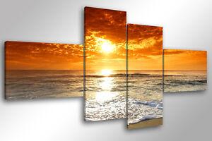 Dettagli su Quadro su Tela Quadri Moderni XXL cm 200x100 BEACH SUNSET  arredamento arredo