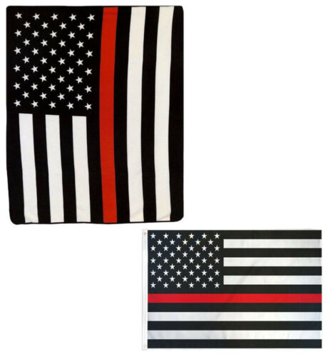 """Wholesale Combo USA Thin Red Line Fire 50/""""x60/"""" Fleece /& 3/'x5/' Polyester Flag"""