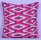 Indian Pink Kantha Stitch Pillow Cover Ikat Sofa Cushion Home Decor 16 X 16
