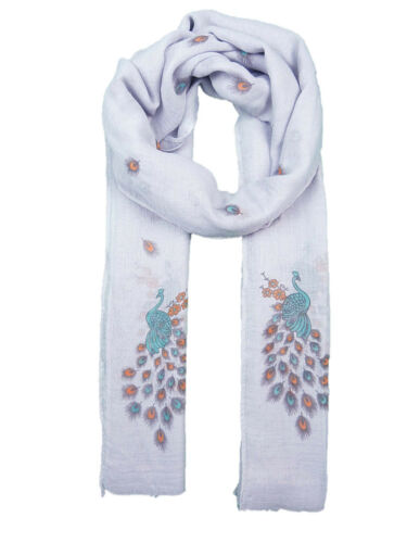 Peacock And Feather Print Scarf  Soft  Feel Wrap Scarf Shawl Hijab Scarves