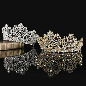 High-Luxury-Crystal-Bridal-Wedding-Party-Pageant-Prom-Tiara-Crown-2-Colors-8-5cm