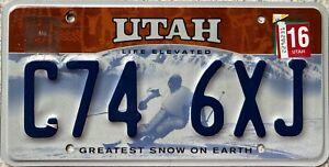 GENUINE-Utah-Life-Elevated-Greatest-Snow-Earth-USA-License-Number-Plate-C74-6XJ