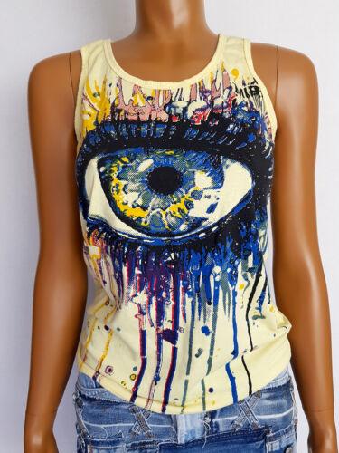 TANK Top Giallo con motivt-shirt S l/'occhio MIRROR ariosi facilmente Summer Feeling