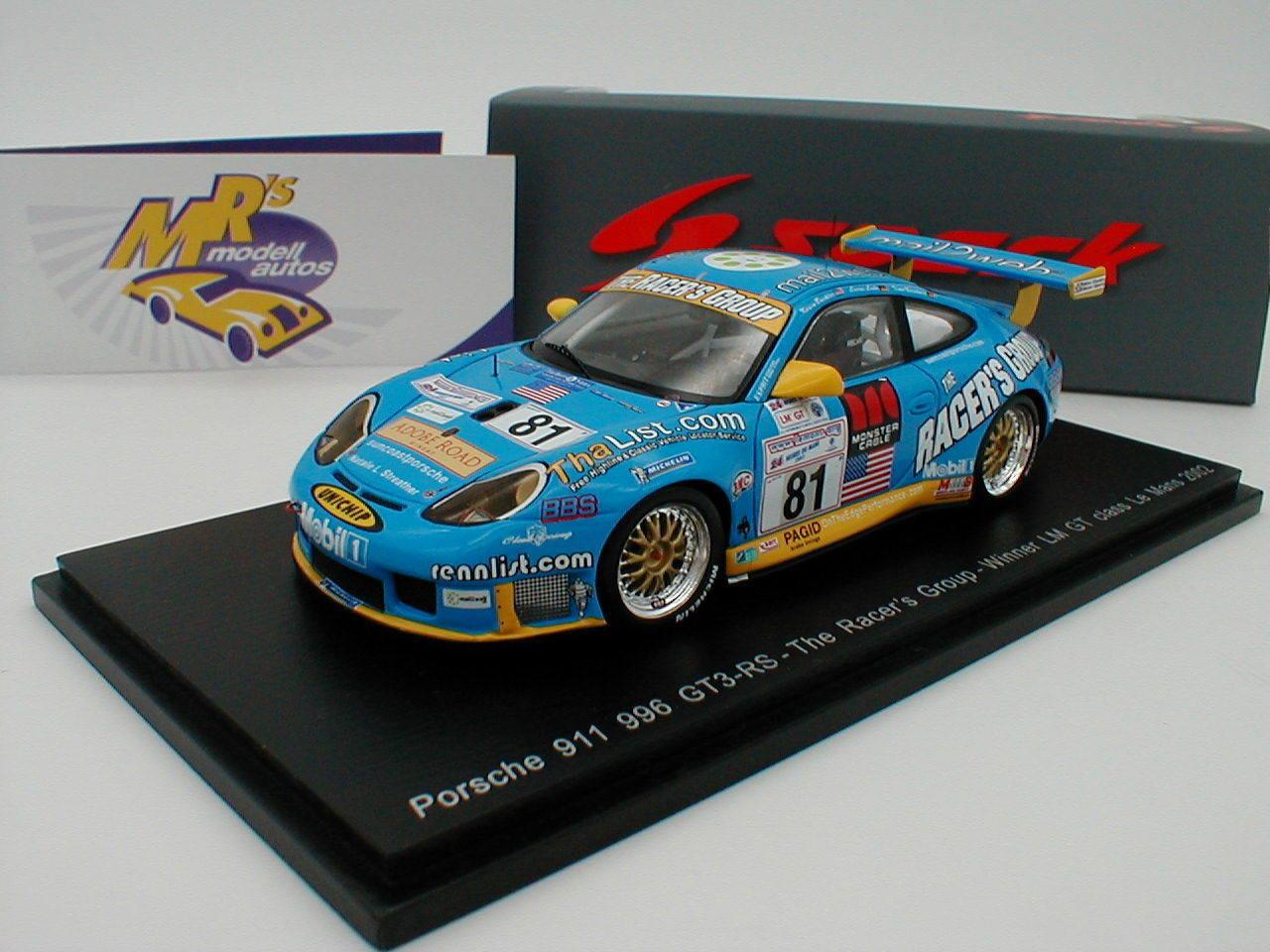 el mas reciente Spark s5517-Porsche 911 996 gt3-rs    81 winner le mans GT 2002  Buckler  1 43  venta con descuento