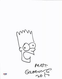 Matt-Groening-Authentic-Signed-11X14-Bart-Simpson-Hand-Drawn-Sketch-PSA-W47591