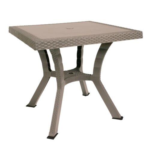 Tavolo Quadrato in resina plastica per esterno da giardino Figaro Rattan