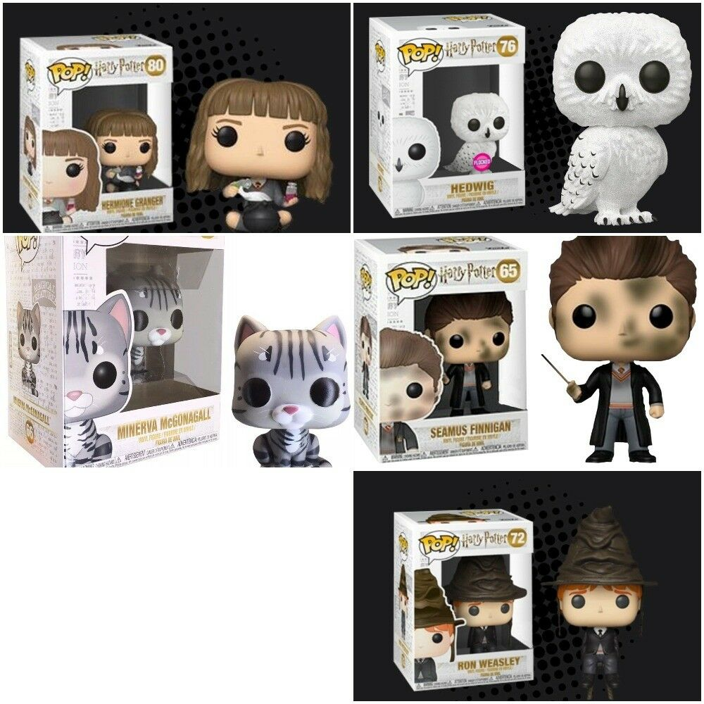 Harry Potter FUNKO POP  Herimione, Ron Sorting Hat, Hedwig Seamus Finnigan Cat