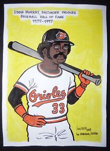 Original-Cuban-Drawing-EDDIE-MURRAY-Baseball-Hall-of-Fame-BALTIMORE-ORIOLES-Cuba