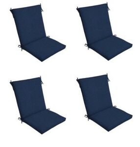 Dark Blue Patio Chair Cushion Set Of 4 Outdoor Dining Replacement
