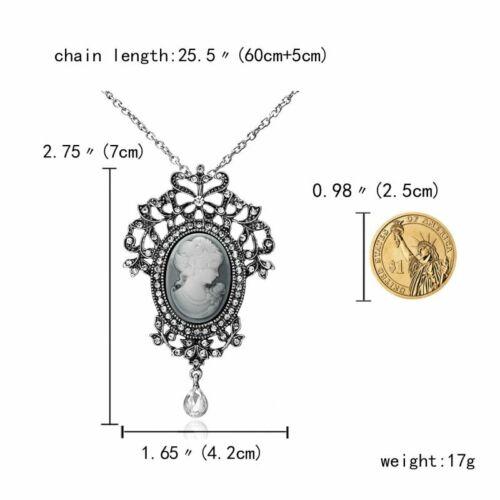 Vintage Women Cameo Crystal Rhinestone Pendant Necklace Flower Wedding Bridal
