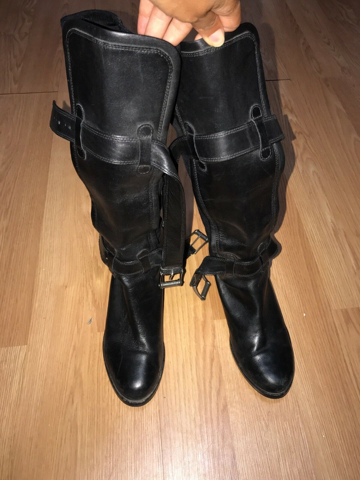 Cole Haan Womens Tall Black Leather Biker Riding Boots Sz 8.5 Buckle Winter Cute
