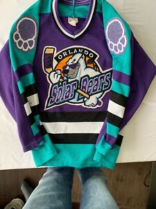 AUTOGRAPHED-VINTAGE-ORLANDO-SOLAR-BEARS-TEAM-HOCKEY-JERSEY-BY-BAUER-YOUTH-L-XL